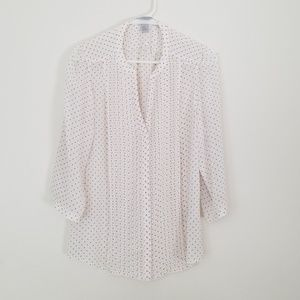 H&M top in light cream/white with grey polk dots.